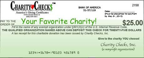 Charity Checks let your loved ones choose the non-profit to benefit from your generosity.